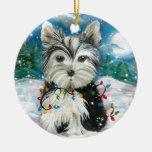 Diseño del día de fiesta de Yorkie Ornaments Para Arbol De Navidad