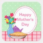 Diseño del día de madre con la flor, la empanada y pegatina cuadrada