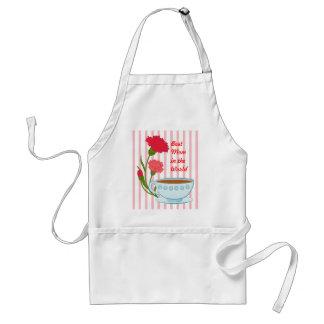 Diseño del día de madre con los claveles y la taza delantal