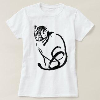 Diseño del dibujo de cepillo del gato siamés playeras
