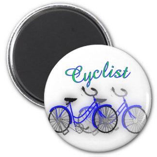 Diseño del dibujo de la acuarela de Cyclist (bicic Imán Redondo 5 Cm