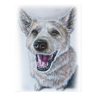 Diseño del dibujo del perro de sentar el perro tarjeta postal