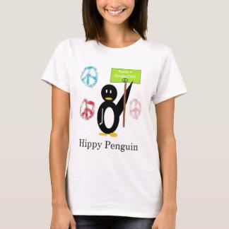 Diseño del doble del pingüino del hippy playera