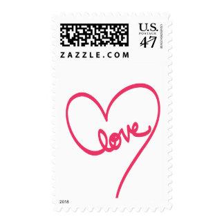Diseño del Doodle del amor con el corazón Timbre Postal