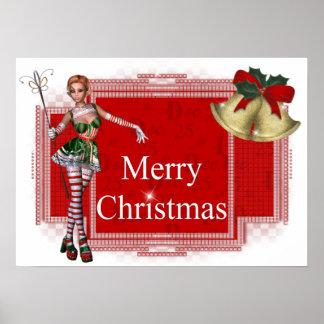 Diseño del duende 2 de las Felices Navidad - impre Póster