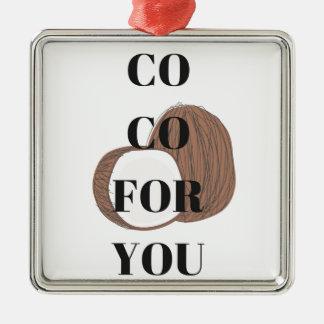 Diseño del ejemplo del texto del coco del Co Co Adorno Navideño Cuadrado De Metal