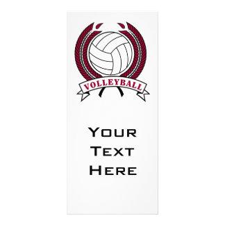 diseño del emblema del voleibol del laurel tarjeta publicitaria a todo color