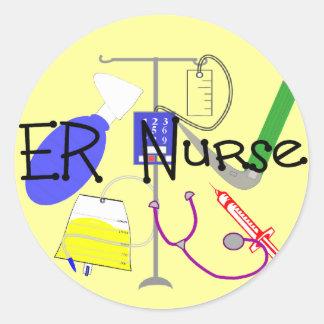 Diseño del equipamiento médico de la enfermera del pegatinas redondas