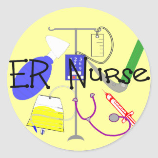 Diseño del equipamiento médico de la enfermera del pegatina redonda