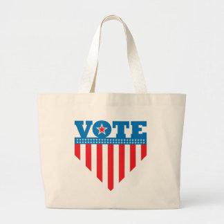 Diseño del escudo de la bandera del voto bolsa tela grande