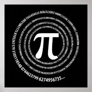 Diseño del espiral del número del pi impresiones