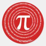 Diseño del espiral del número del pi etiqueta redonda