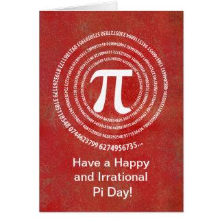 Diseño del espiral del número del pi felicitacion