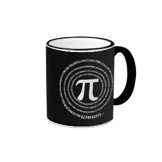 Diseño del espiral del número del pi tazas de café