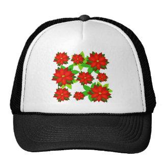 Diseño del estilo de la flor del Poinsettia Gorras