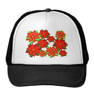 Diseño del estilo de la flor del Poinsettia Gorra