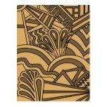 Diseño del estilo del art déco del color de Brown  Tarjetas Postales