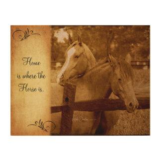 Diseño del estilo del vintage de dos caballos impresión en madera