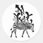 Diseño del extracto de la cebra etiquetas redondas