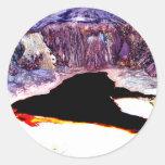 Diseño del extracto de la mina del hoyo de la pegatina redonda