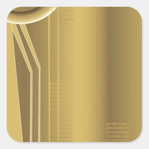 Diseño del extracto de la tecnología del oro pegatina cuadrada