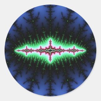 Diseño del extracto del fractal del UFO Etiqueta Redonda
