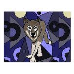 Diseño del extracto del lobo gris tarjeta postal