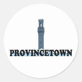 "Diseño del ""faro"" de Provincetown Pegatina Redonda"