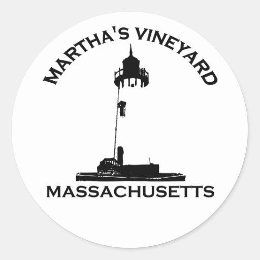 """Diseño del """"faro"""" del Martha's Vineyard Etiqueta Redonda"""
