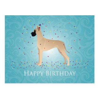 Diseño del feliz cumpleaños de great dane tarjetas postales