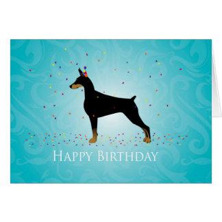 Diseño del feliz cumpleaños del Pinscher del Tarjeta De Felicitación
