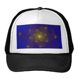 Diseño del fractal del azul y del color oro gorros bordados