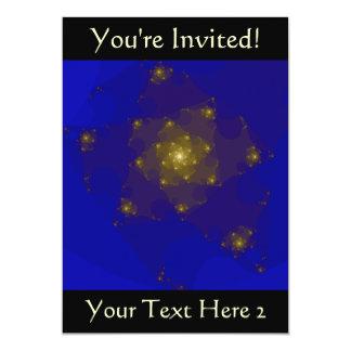 """Diseño del fractal del azul y del color oro invitación 5"""" x 7"""""""