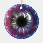 Diseño del fractal del ojo de Tesla Adorno Navideño Redondo De Cerámica