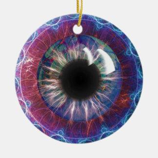 Diseño del fractal del ojo de Tesla Adorno Redondo De Cerámica
