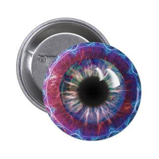 Diseño del fractal del ojo de Tesla Pin Redondo De 2 Pulgadas