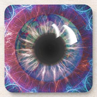 Diseño del fractal del ojo de Tesla Posavasos De Bebidas