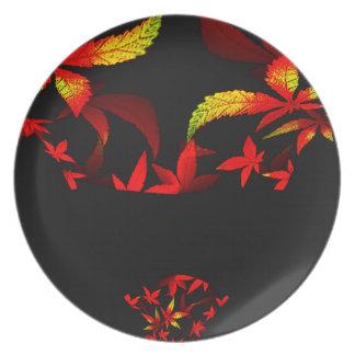 Diseño del fractal del ramo del otoño plato de cena