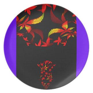 Diseño del fractal del ramo del otoño platos de comidas