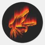 Diseño del fuego de la mosca mojada etiquetas