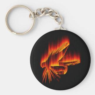 Diseño del fuego de la mosca mojada llavero redondo tipo pin