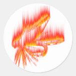 Diseño del fuego de la mosca mojada pegatina redonda