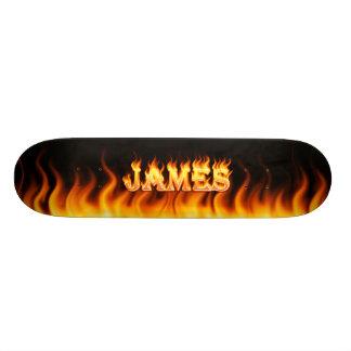 Diseño del fuego real de James y del monopatín de