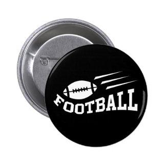 Diseño del fútbol con blanco de la bola que despid pin redondo de 2 pulgadas