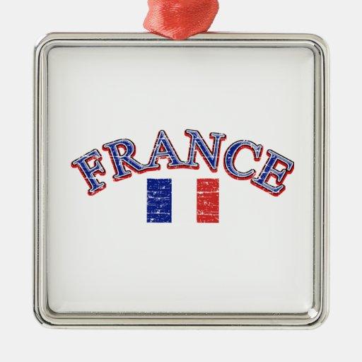 Diseño del fútbol de Francia Adorno Cuadrado Plateado