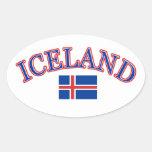 Diseño del fútbol de Islandia Pegatinas Óval Personalizadas