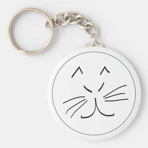 Diseño del gato de Kats Llavero Redondo Tipo Pin
