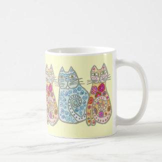 Diseño del gato de los mejores amigos taza básica blanca