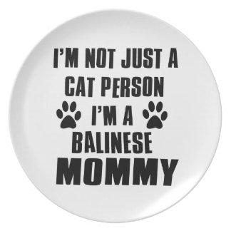 Diseño del gato del camisetas del Balinese Plato De Comida