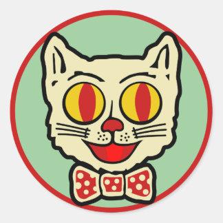 diseño del gato del vintage de los años 40 pegatina redonda